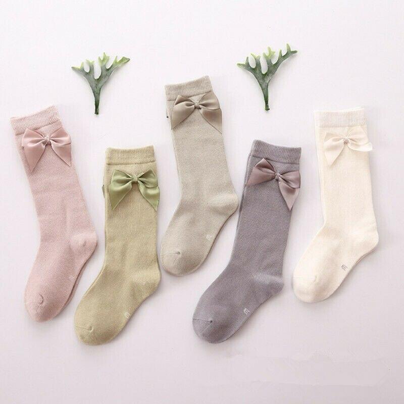 2-8T Baby Girl Socks Bow Princess Socks Girls Knee Anti Slip Socks Kids Candy Color Leg Warmer