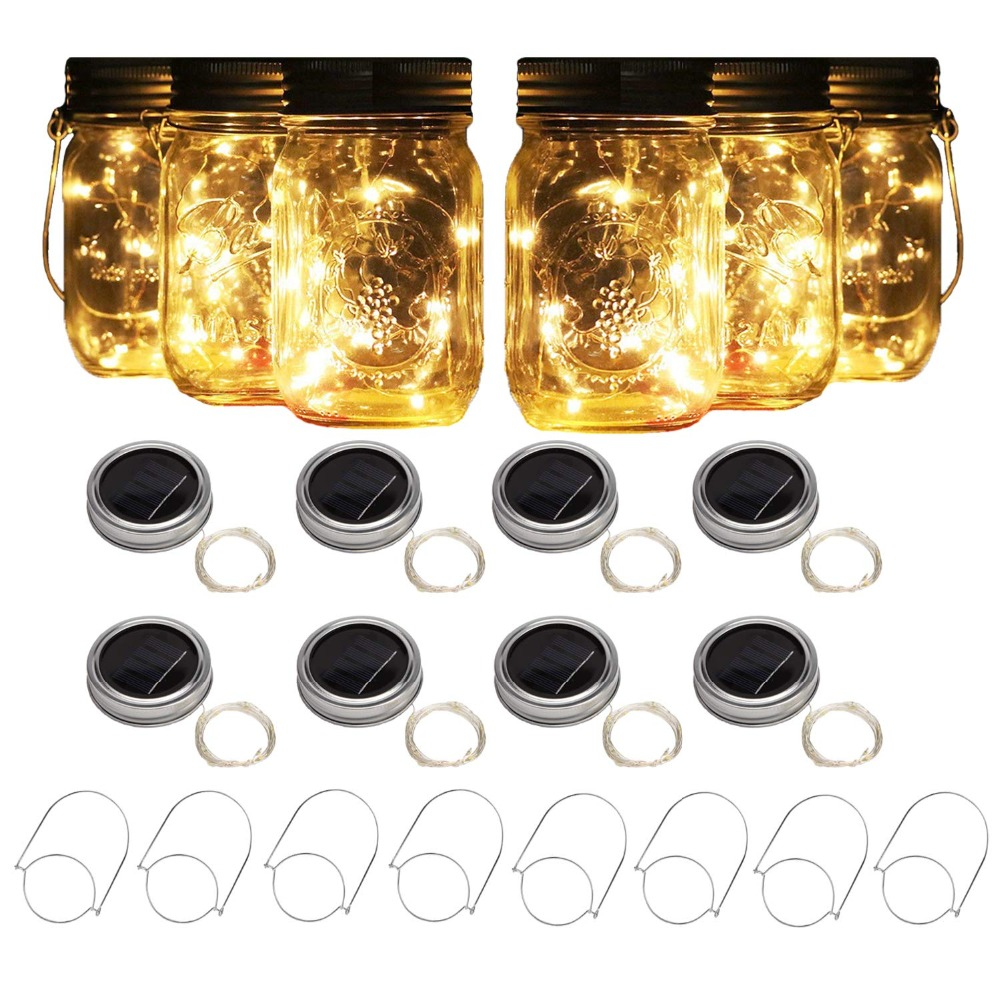 8 Pack Solar Mason Jar Lights with 8 Handles, 10 Led String Fairy Firefly Lights Lids Insert forPatio,Lawn,Garden Decor