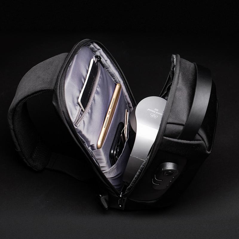 Multifunctional shoulder bag, for men, USB Anti-theft crossbody bag 5