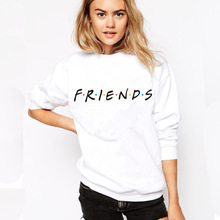 Casual Men Women Friends Print Letter Pullover Hoodies Harajuku Couple Sweatshirt Unisex Sport White Black Hooded Streetwear