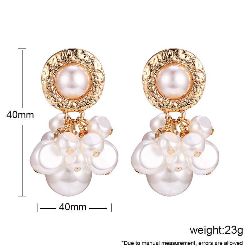 Simulated Pearl Earrings For Woman 2019 Za Big Irregular Beaded Drop Dangle Earring Korean Wedding Female Fashion Jewelry 2019