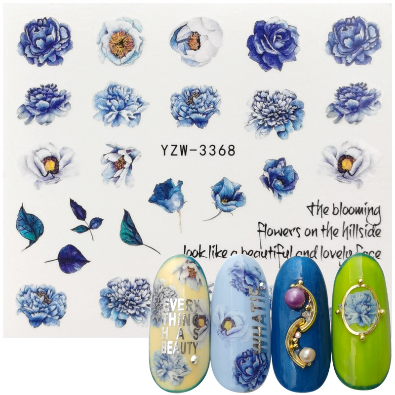 2020 New Designs Nail Water Transfer Sticker High Cold Purple Peony Nail Art Watermark Slider Manicure DIY Decoration