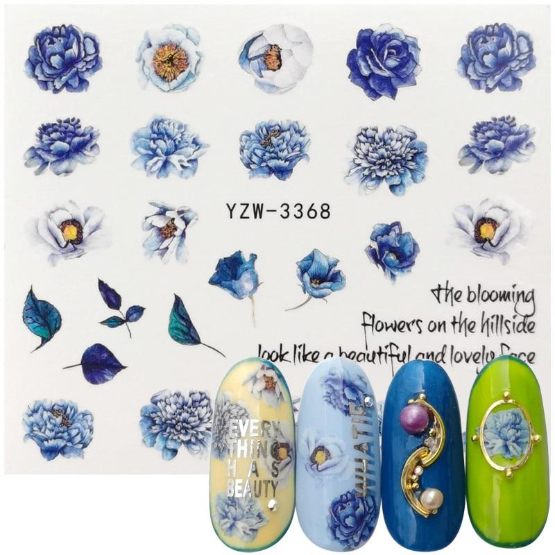 2020 New Designs Nail Water Transfer Sticker High Cold Purple Peony Nail Art Watermark Slider Manicure DIY Decoration