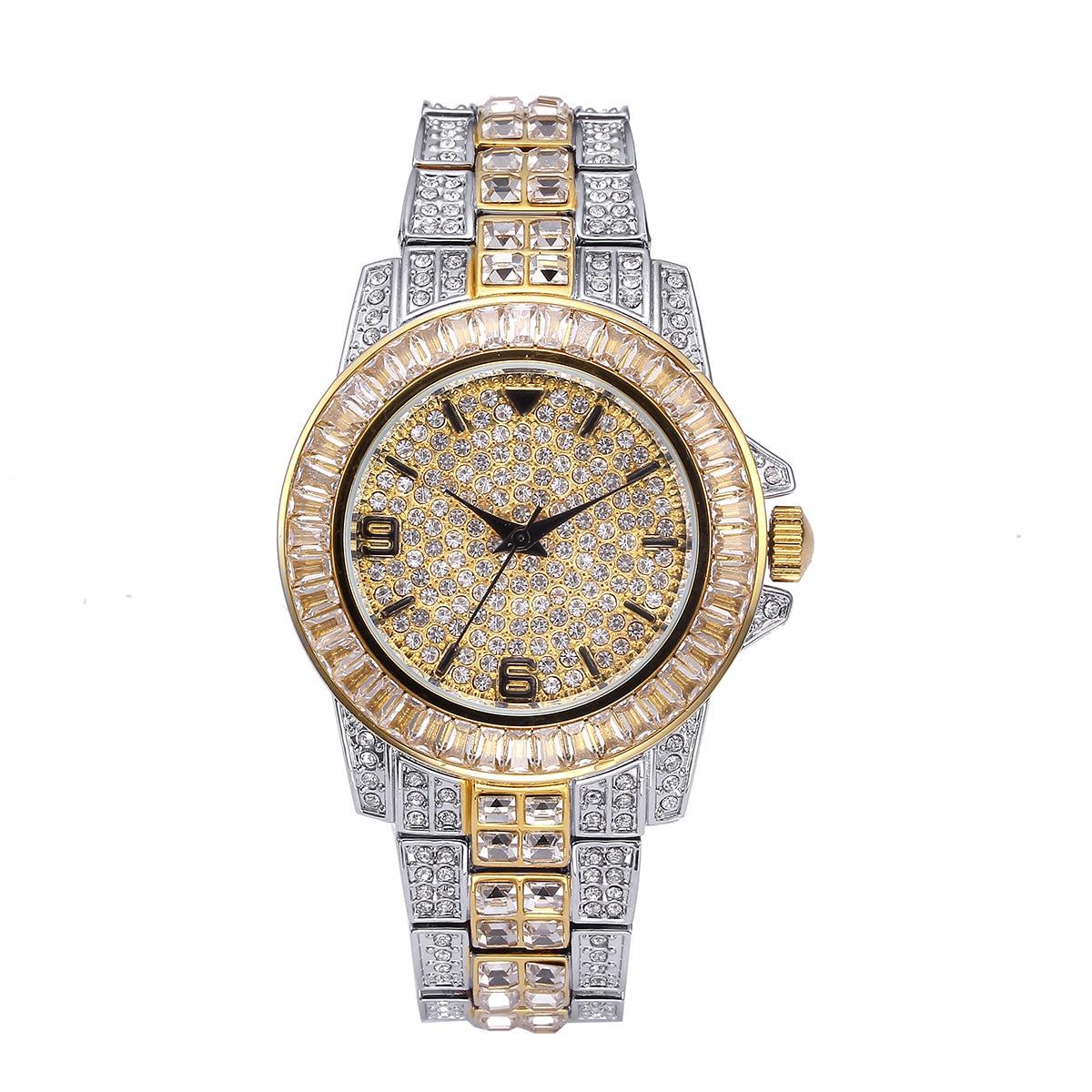 Мужские кварцевые часы с большим циферблатом со льдом и бриллиантами, роскошные стразы, хип-хоп наручные часы с кристаллами, браслет из