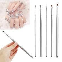 5 pz/set penne per unghie pittura argento manico pennello Gel UV 3D Manicure Design pittura arte Set di pennelli per salone Nail Art portatile