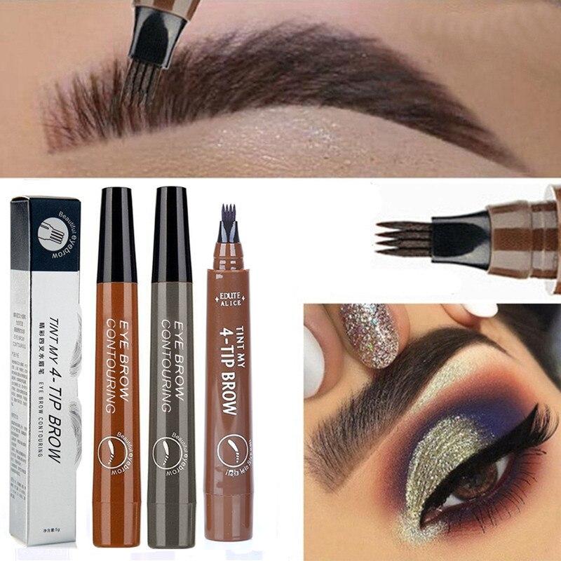 5-color Four-pronged Eyebrow Pencil Eyebrow Brush Split Liquid Waterproof Long-lasting Eyebrows Enhancer Pencil Eyebrow Shadow
