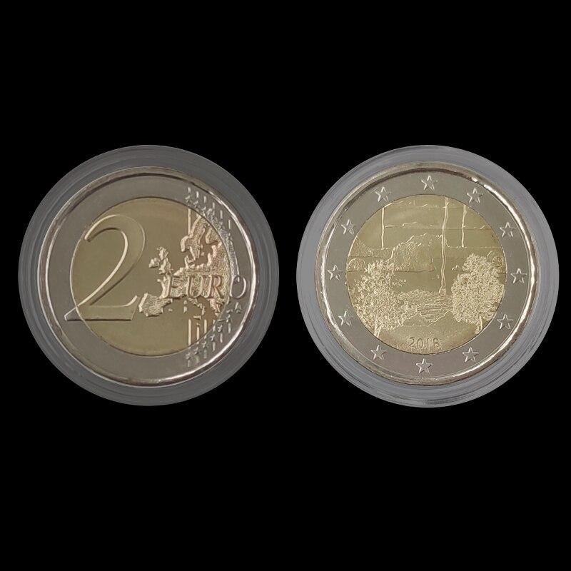 Finland 2 Euro Sauna Culture Bicolor 2018 100% Real Genuine Original Coin Comemorative Coin Collection Rare Unc