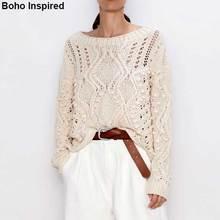 Богемный Вдохновленный вязаный свитер бежевого цвета с помпонами, украшенные свитера с длинными рукавами Повседневные женские пуловеры шикарные новые джемперы