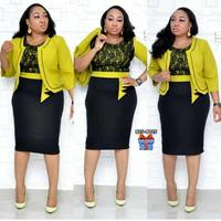African Clothes Lace Patchwork Two Piece Set Women Elegant Blazer&Lace Pencil Dress High Quality Office Lady Plus Size 1