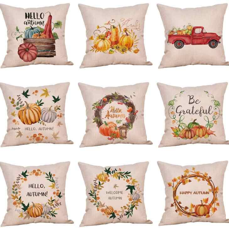 Halloween Pillow Cases Happy Autumn Pumpkin Cotton Linen Cushion Cover Sofa Car Home Decor