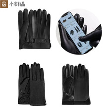 Neue Youpin Qimian Lammfell Touchscreen Finger Handschuhe Wasserdicht Spanisch Raw Weiche Leder Warme Winter Für Frauen Mann Stick