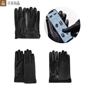 Image 1 - Youpin Qimian قفازات جلدية تعمل باللمس للرجال والنساء ، قفازات مقاومة للماء ، ناعمة ، إسبانية ، دافئة ، لفصل الشتاء