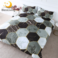 BlessLiving Marble Bedding Modern Geometric Comforter Cover 3 Pieces Golden Gray Home Textiles Luxury Bed Set Dropshipping