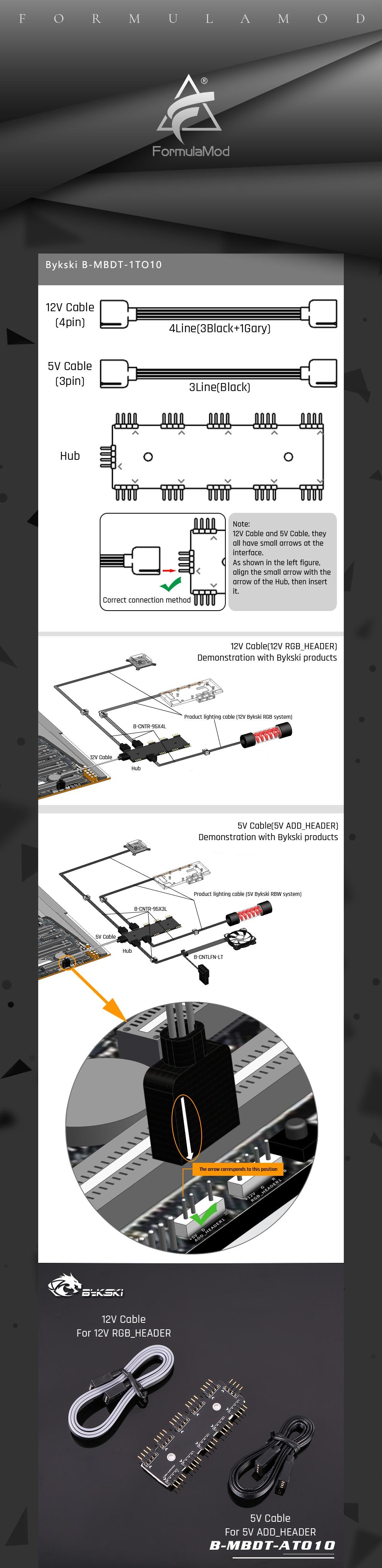 Bykski B-MBDT-1TO10, Motherboard Aura Hubs, 3Pin/4Pin Motherborad Aura Interface 1 To 10 Hub