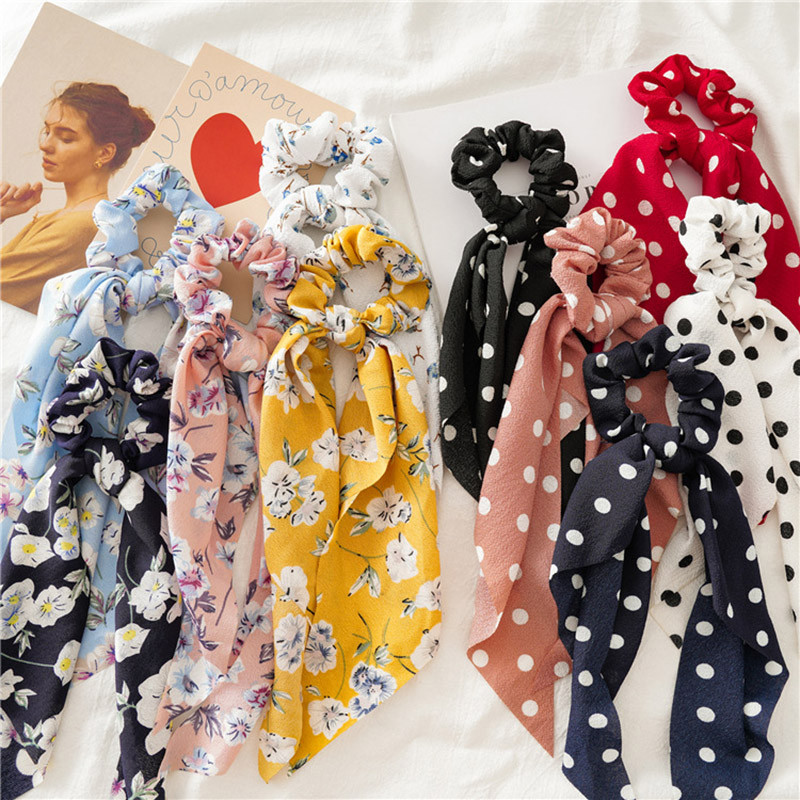 2019 New Fashion Sweet Scrunchie Women Ribbon Elastic Hair Bands Print Dots Bow Scarf Hair Rubber Ropes Girls Hair Accessories