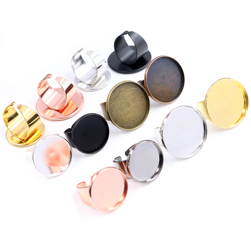 14mm 18mm 20mm 25mm 8 Colors Brass Adjustable Ring Settings Blank/Base,Fit 14-25mm Glass Cabochons,Buttons Bezels