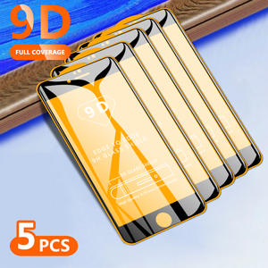 5Pcs 9D Screen Protector For iPhone 6 6 Plus 6s 6s Plus 7 7 Plus 8 8 Plus X XS XR Xs Max 11 Tempered Glass Full Cover HD Clear