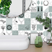 Funlife Modern Design Self-adhesive Kitchen Tiles Wall Stickers,Nordic Art Decal DIY Home Decor PVC Waterproof Bathroom Stickers