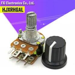 5Sets 5 uds + 5 uds WH148 B1K ~ B1M ohm 1K 2K 5K 10K 20K 6Pin 15mm 10K 3 Terminal conicidad lineal potenciómetro giratorio para Arduino