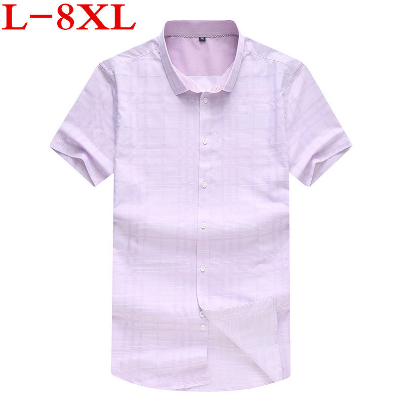 Plus Size 9XL  Men Plaid Short Sleeved Shirt 8XL 7XL Big And Tall Half Sleeve Shirt Young Big Man XL 5XL Special Fertilizer