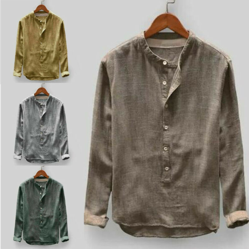Fashion Men's Linen Shirt Casual Slim Fit Multiple Buttons Long Sleeve Shirts Tops Tee Oversized Outwear Baggy Tunic