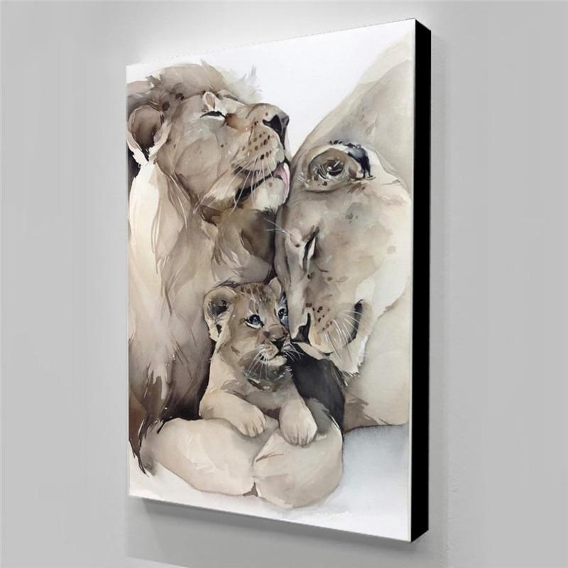 Parede pictur quadros em tela leão família poster pintura da lona decoração do quarto arte abstrata plaky na sciane casa decoração pinturas