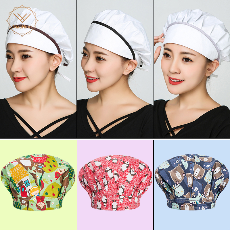 Fashion Solid Color Printing Work Cap Unisex Scrub Caps Chef Hats Cook Cotton Elastic Adjustable Kitchen Cook Hotel Waiter Hats
