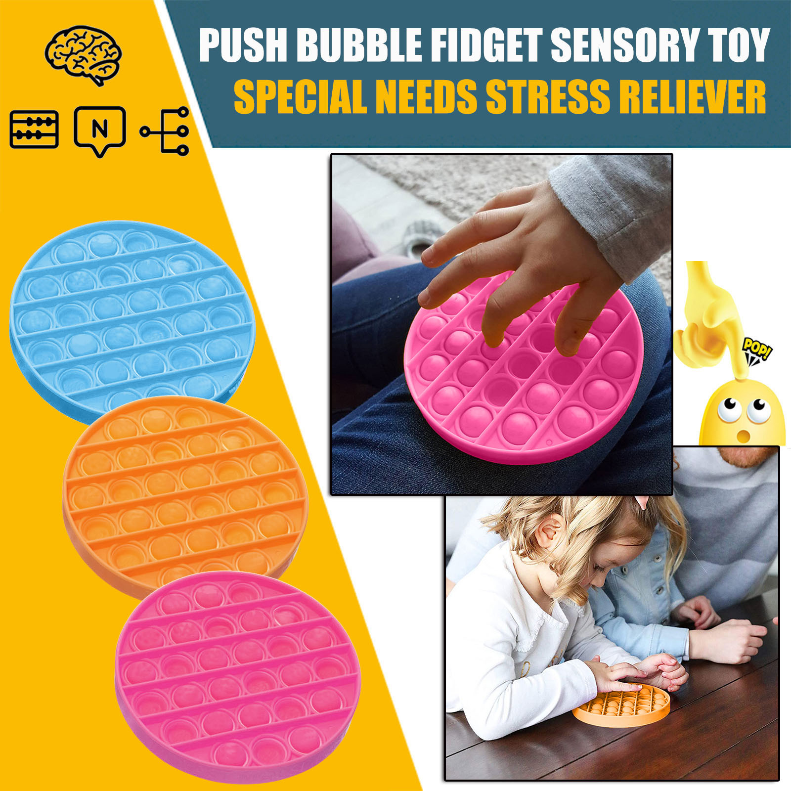 Unisex Push Bubble Fidget Sensory Toy Autism Special Needs Stress Reliever Toy Christmas Gift Wholesale Decompressie speelgoed