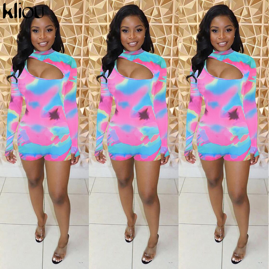Kliou Women Fashion Colorful Print Playsuit Turtleneck Sexy Hollow Out Bodysuit 2019 Autumn Long Sleeve Elastic Skinny Rompers