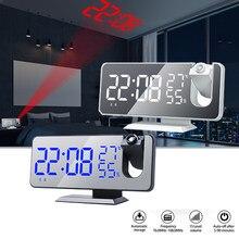 Sveglia a proiezione specchio LED allarme digitale Display temperatura e umidità orologio elettronico da comodino USB con Radio Snooze