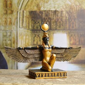 Egyptian Mythology Isis Goddess Resin Sculpture Craftwork Earth Patron Saint  Egypt's Eye Creative Bookcase Decoration