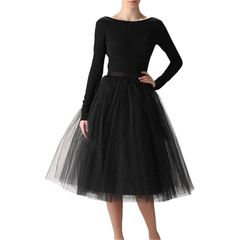 5 Layers Midi A Line Tutu Tulle Skirt High Waist Pleated Skater Skirts Womens Vintage Lolita Ball Gown Summer 2019 Saias Jupe