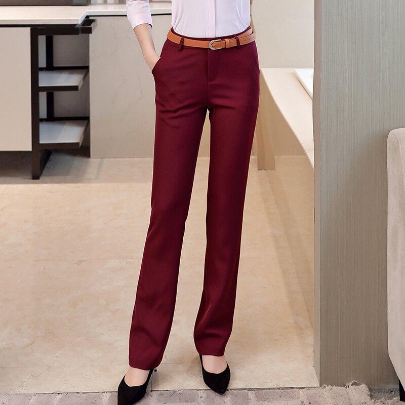 Pantalones De Trabajo Coreanos Para Mujer Pantalones Rectos Negro Solido Borgona Gris Azul Marino Pantalones De Vestir Para Mujeres De Negocios Pantalones Largos De Gran Tamano Aliexpress