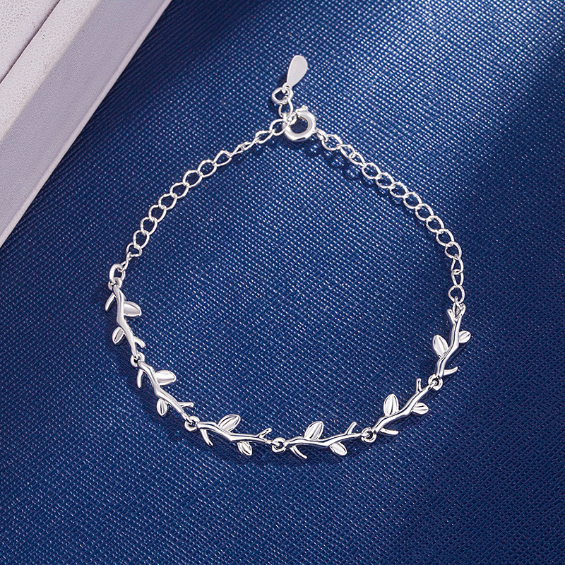 DAIWUJAN 925 Sterling Silver Moonlight Forest Bracelets Leaves Branches Bracelets & Bangles For Women Girls Wedding Jewelry