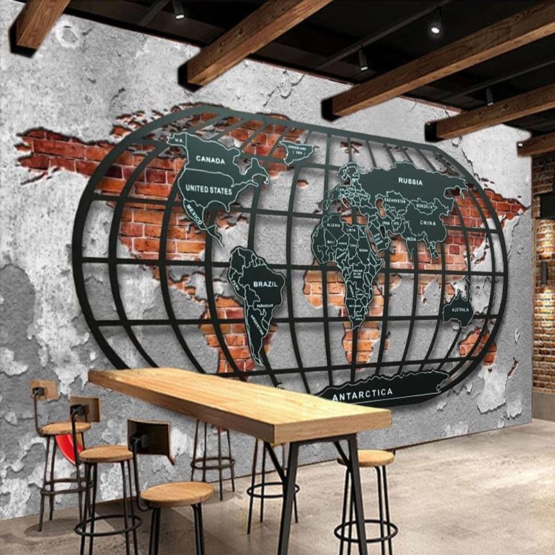 Custom 3D Wall Mural Wallpaper Retro Nostalgic Relief Metal World Map Bar Restaurant Wallpaper Home Decoration Painting Wall Art