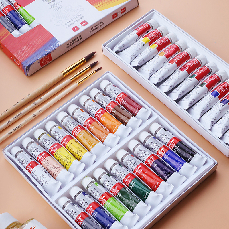 Winsor&Newton 12/18 Colors Professional Oil Paint Set For Artist Oil Painting Drawing Art Paint Supplies