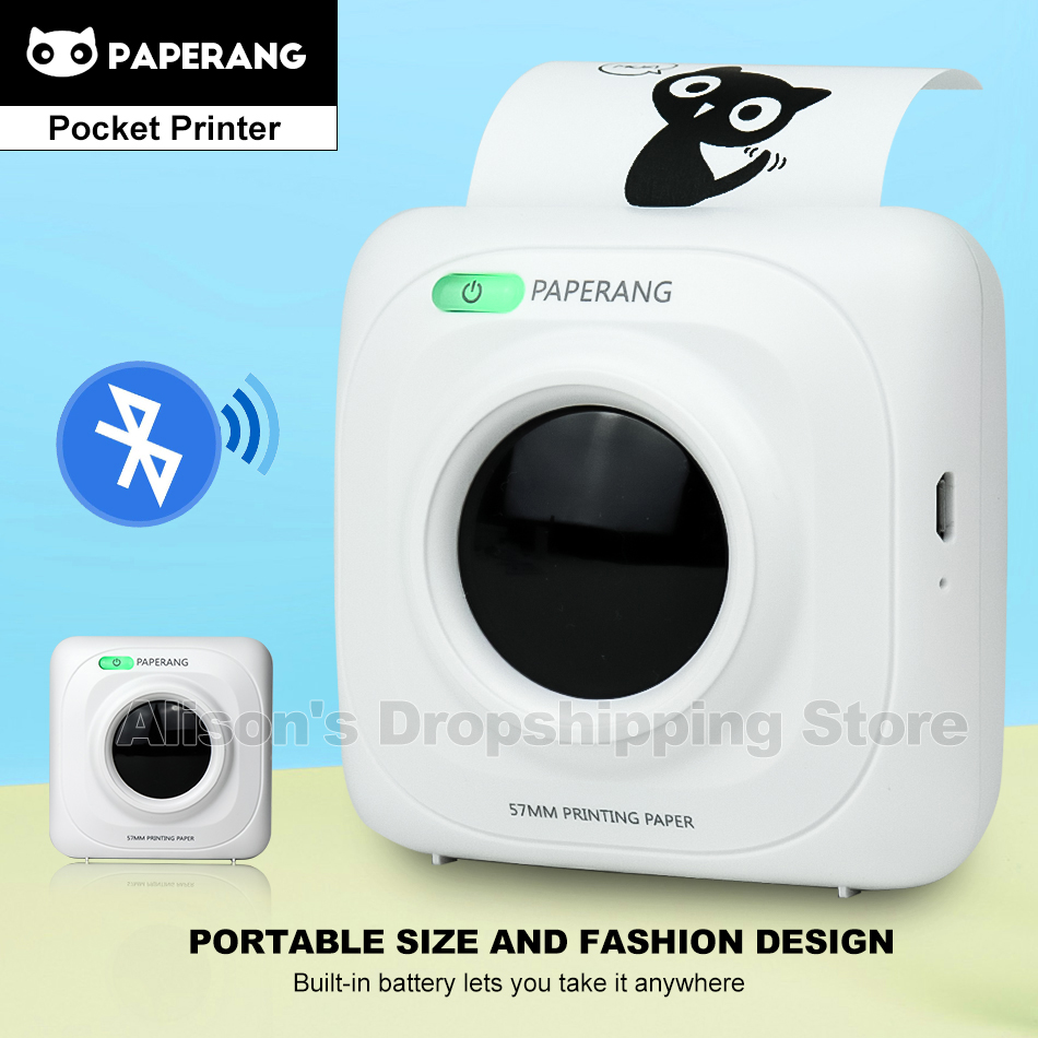 PAPERANG P1 Printer Thermal Photo Portable Bluetooth 4.0  Phone Wireless Connection Mini Pocket Printers For IOS Android Windows