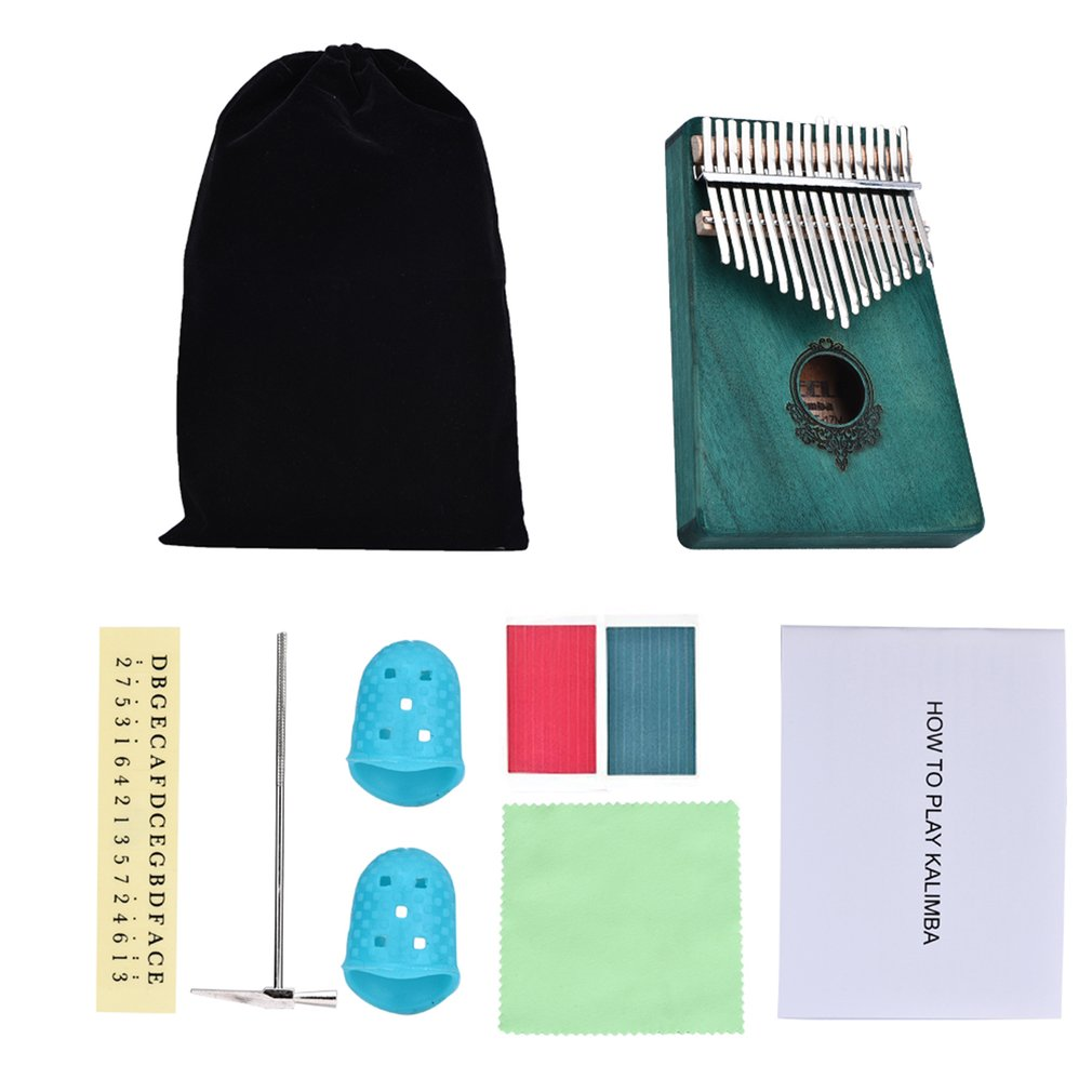 Kalimba 17 Keys Thumb Piano Pocket Size Beginners Friendly Supporting Bag and Keyboard Musical Instrument