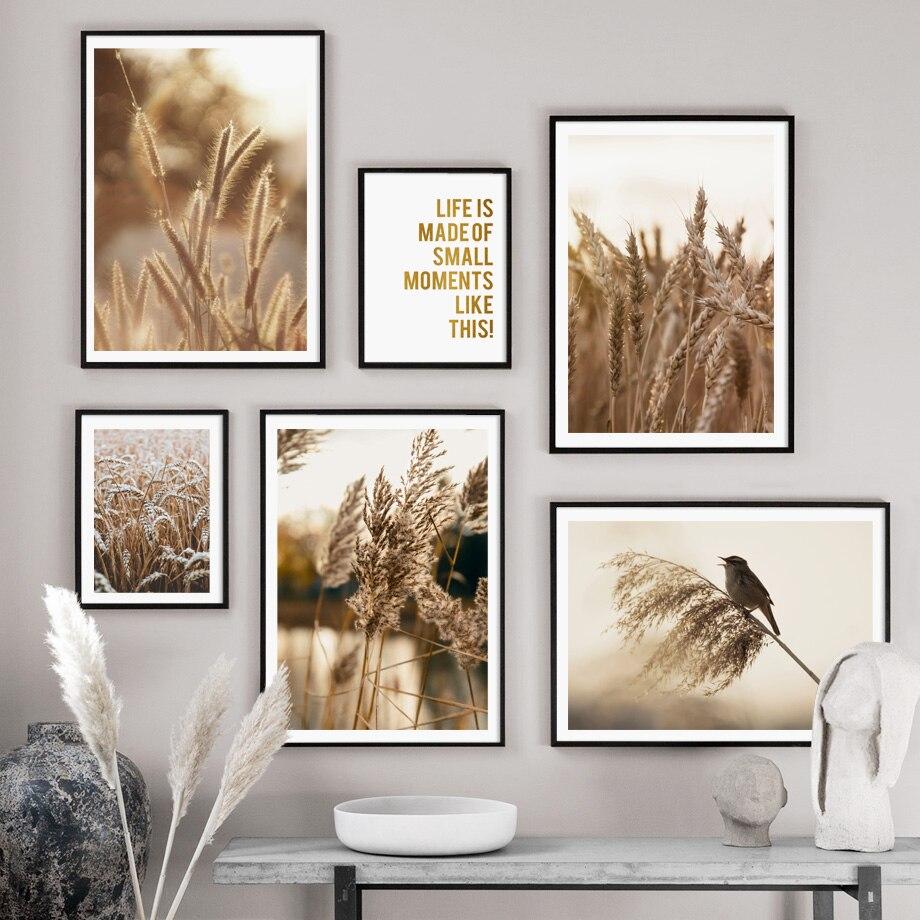 Kamış buğday kuş tırnak sonbahar manzara duvar sanatı tuval yağlıboya İskandinav posterler ve baskılar duvar resimleri için oturma odası dekor