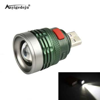 Mini Usb LED Flashlight Cree Q5 Aluminum Work Light 2000LM Waterproof Lanterna 3 Modes Portable LED Torch Lamp tangspower 1200lm cree xml u2 6 leds 3 modes white light aluminum led flashlight