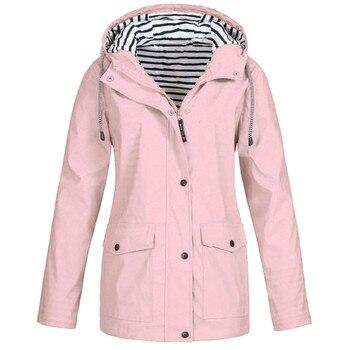 2019 Autumn Women Jacket Long Sleeve Coat Waterproof Loose Skinsuits Hooded Zipper Pockets Sport Coat Hiking Riding Jacket