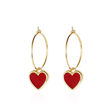 New fashion women red peach heart earrings Exquisite temperament pendant for earring jewelry