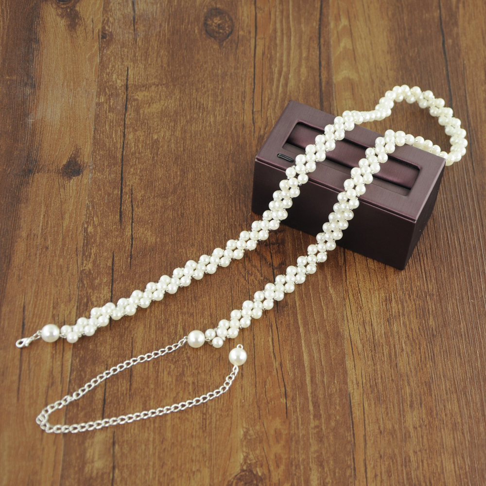 TRiXY S398 White Pearls Belt Wedding Belts Pearl Beaded Bridal Belts Bridal Sashes Wedding Accessories For Bridal Dress Belts