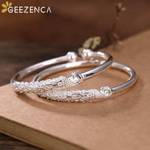 Vintage 999 Sterling Silver Peacock Open Bangle Bracelets Simple Ethnic Bangles Resizable Fine Jewelry for Women Cute Trendy uglyless real 999 silver fine jewelry women simple fashion thick bangles ethnic fish open bangle handmade engraved lotus bijoux
