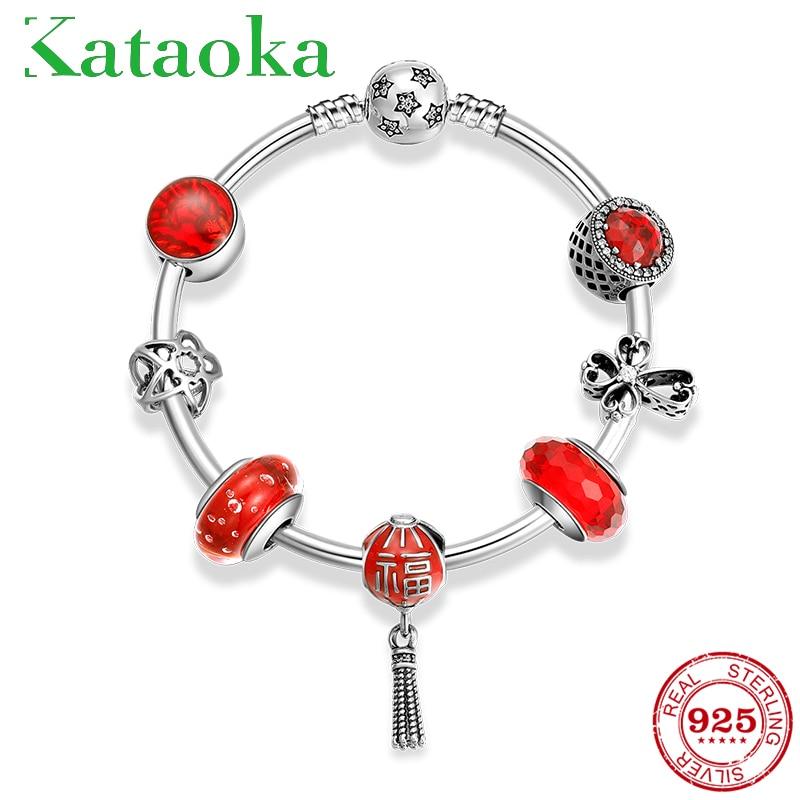 Hot 925 Sterling Silver Festive red luck Red Lantern Glass Bracelets Bead Bracelets diy for fashion jewelry womens Gift