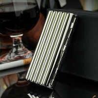 Caja de cigarrillos de cobre corrugado, espejo antiestrés, a prueba de humedad, 10 palos, soporte para cigarrillos, caja de almacenamiento delgada para fumar de Metal