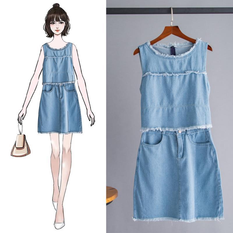 Cowboy Women's 2019 Summer Wear New Style Crew Neck Short Vest Tops Tassels Skirt Short Skirt Two-Piece Set