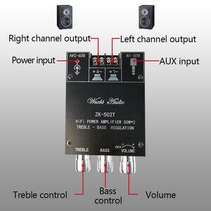 Image 4 - ZK 502T TPA3116D2 Bluetooth 5.0 סאב מגבר לוח 2.0 ערוץ גבוהה כוח אודיו סטריאו מגבר לוח 2*50W בס AMP