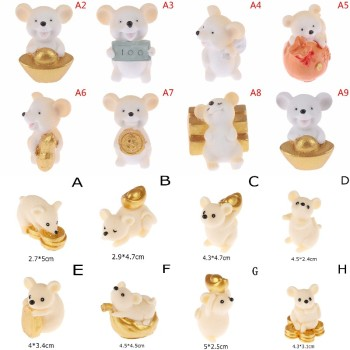 Cartoon Animal Action Figures Lucky Fortune Sending Money Mouse Model Miniature Figurine Home Dollhouse Decoration DIY Toy Gift image