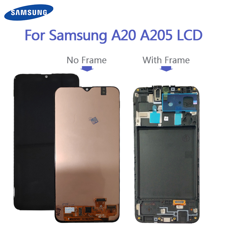 For Samsung Galaxy A20 A205G/DS LCD Display <font><b>A205F</b></font>/DS A205GN/DS <font><b>SM</b></font>-A205FN/DS Lcd Display Screen Digitizer A205 LCD Replacement image